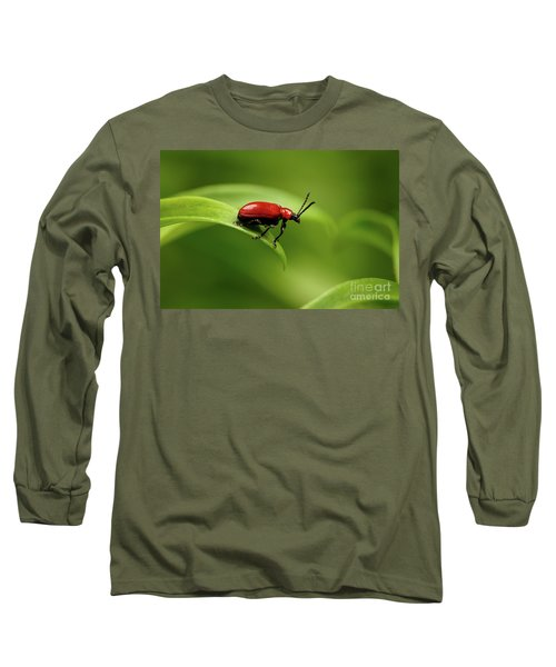 Red Scarlet Lily Beetle On Plant Long Sleeve T-Shirt by Sergey Taran