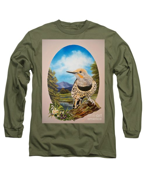 Long Sleeve T-Shirt featuring the painting Red Shafted Flicker by Sigrid Tune