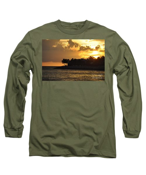 Long Sleeve T-Shirt featuring the photograph Red Sky At Night Over Sunset Key by John Black
