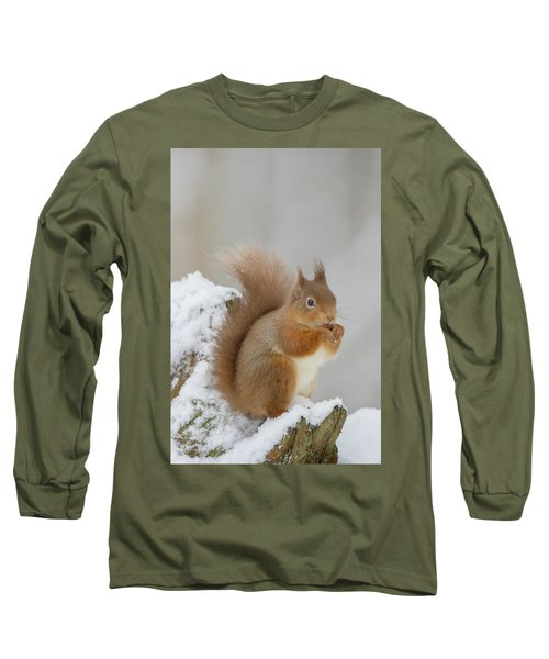 Red Squirrel In The Snow Side On Long Sleeve T-Shirt