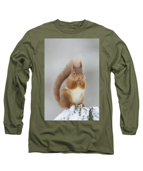 Red Squirrel Nibbling A Hazelnut In The Snow Long Sleeve T-Shirt