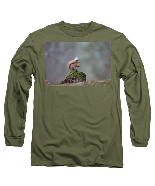 Red Squirrel Peeling A Hazelnut Long Sleeve T-Shirt