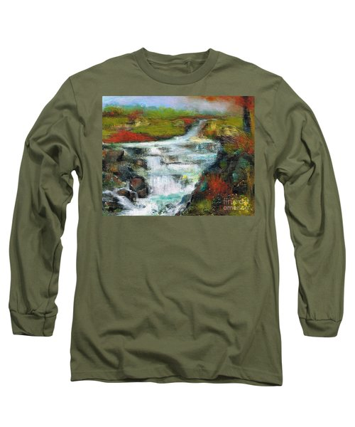 Long Sleeve T-Shirt featuring the painting Yellow Fields With Red Sumac by Frances Marino
