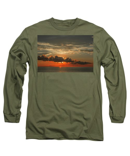 Red Sunset And Dark Clouds Above Sea Long Sleeve T-Shirt