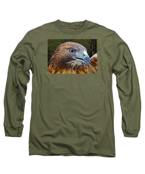 Red-tailed Hawk Portrait Long Sleeve T-Shirt by Sandi OReilly