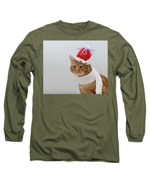 Red Tubby Cat Tabasco Christmas Hat Long Sleeve T-Shirt