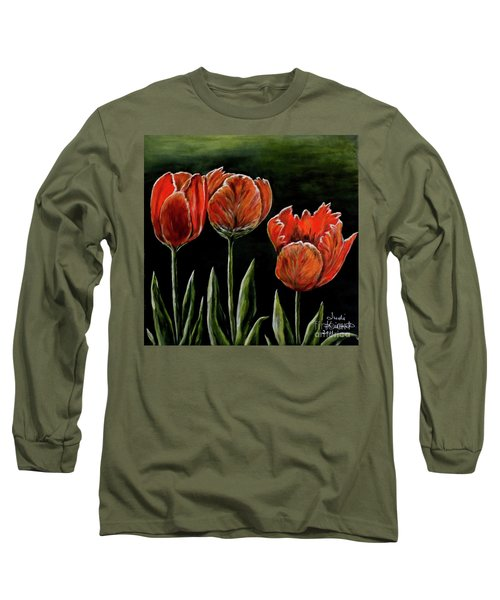 Long Sleeve T-Shirt featuring the photograph Red Tulips by Judy Kirouac