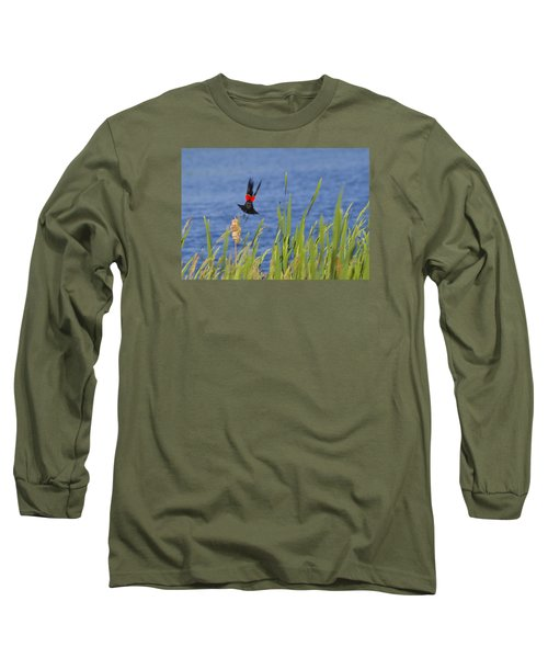 Red Wing Bow Long Sleeve T-Shirt by Shelly Gunderson