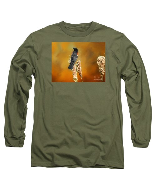 Red Winged Blackbird Long Sleeve T-Shirt by Suzanne Handel
