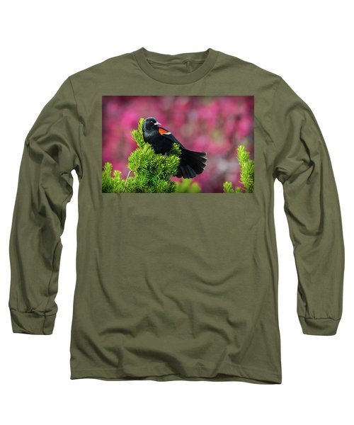 Red Winged Blackbird With Crabapple Blossoms Long Sleeve T-Shirt