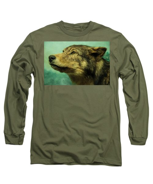 Long Sleeve T-Shirt featuring the digital art Red Wolf Digital Art by Chris Flees