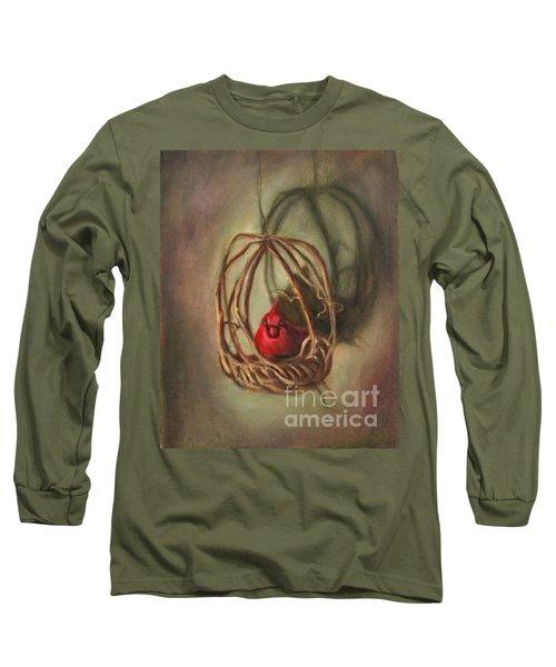 Long Sleeve T-Shirt featuring the painting Redbird by Randol Burns