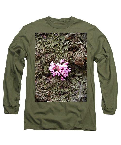 Redbud Flowers 1  Long Sleeve T-Shirt by Sarah Loft