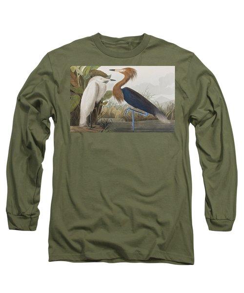 Reddish Egret Long Sleeve T-Shirt by John James Audubon