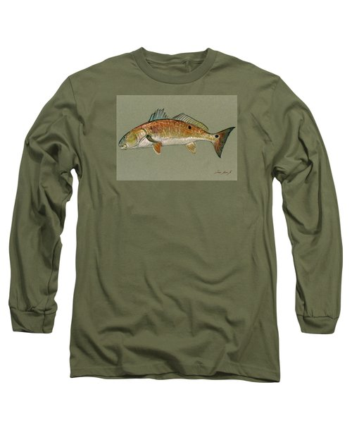 Redfish Watercolor Painting Long Sleeve T-Shirt