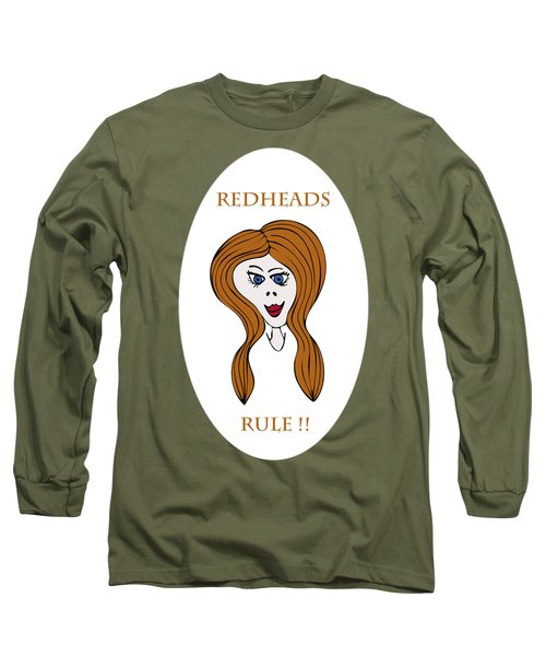 Long Sleeve T-Shirt featuring the drawing Redheads Rule by Frank Tschakert