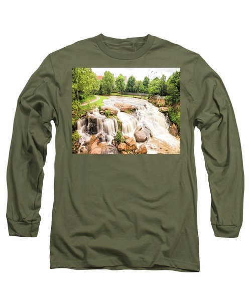 Long Sleeve T-Shirt featuring the photograph Reedy River Falls Greenville Sc by Bellesouth Studio