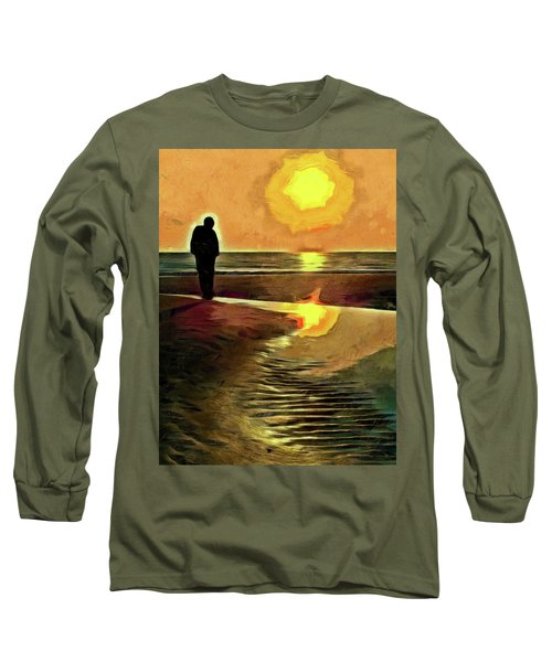 Long Sleeve T-Shirt featuring the mixed media Reflecting On The Day by Trish Tritz
