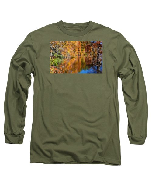 Reflected Fall Foliage Long Sleeve T-Shirt by Allan Levin