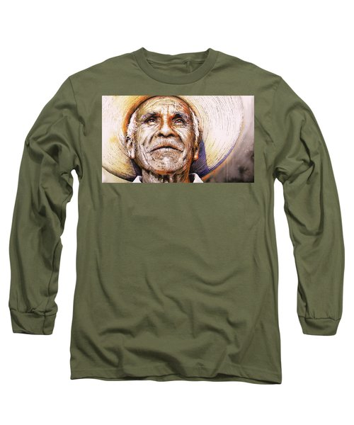 Long Sleeve T-Shirt featuring the painting Reflections About Earth, Bronze And Sun by J- J- Espinoza