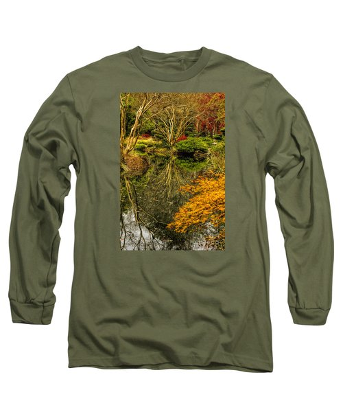 Reflections At Japanese Gardens Long Sleeve T-Shirt by Barbara Bowen