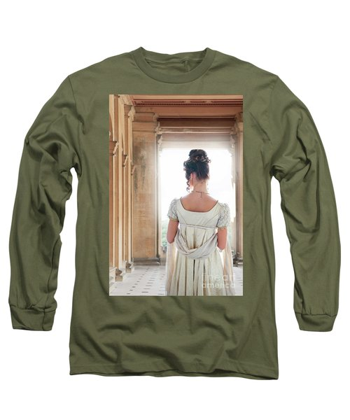 Regency Woman Under A Colonnade Long Sleeve T-Shirt by Lee Avison