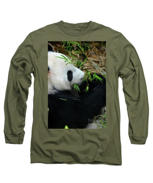 Relaxed Panda Bear Eats With Green Leaves In Mouth Long Sleeve T-Shirt