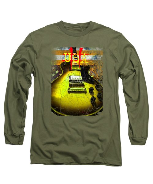 Long Sleeve T-Shirt featuring the digital art Relic Guitar Music Patriotic Usa Flag by Guitar Wacky