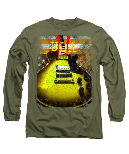 Relic Guitar Music Patriotic Usa Flag Long Sleeve T-Shirt