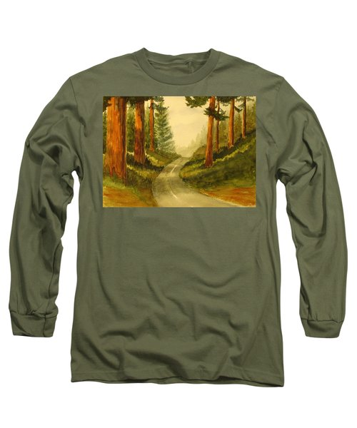 Long Sleeve T-Shirt featuring the painting Remembering Redwoods by Marilyn Jacobson