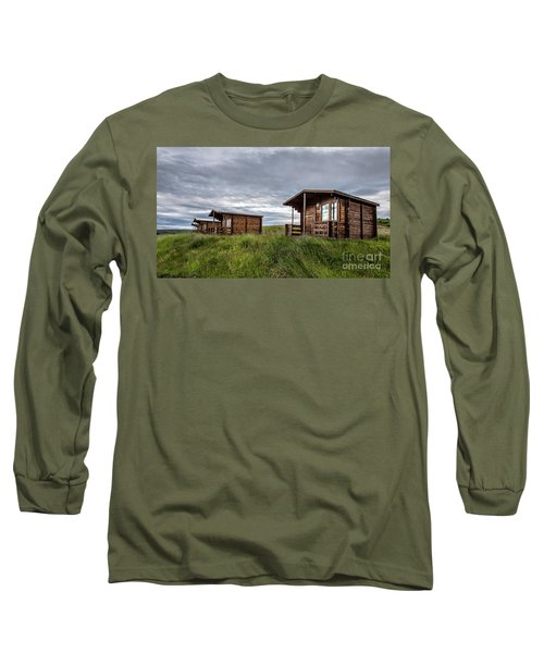 Long Sleeve T-Shirt featuring the photograph Remote Cabins Myvatn Iceland by Edward Fielding