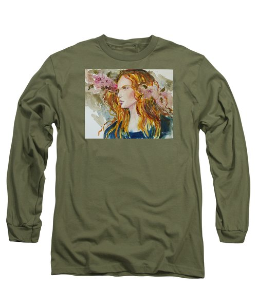 Long Sleeve T-Shirt featuring the painting Renaissance Woman by P Maure Bausch