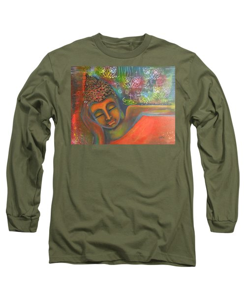 Long Sleeve T-Shirt featuring the painting Buddha Resting Against A Colorful Backdrop by Prerna Poojara