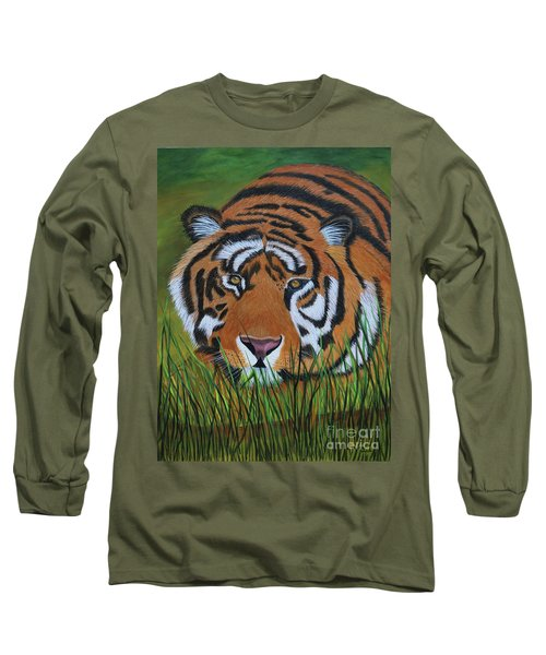 Long Sleeve T-Shirt featuring the painting Resting Tiger  by Myrna Walsh