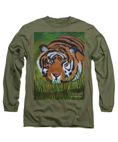 Resting Tiger  Long Sleeve T-Shirt by Myrna Walsh