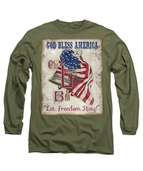 Long Sleeve T-Shirt featuring the digital art Retro Patriotic-a by Jean Plout