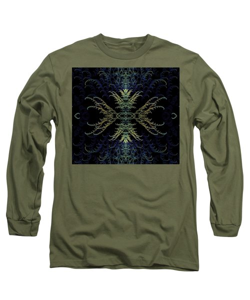 Long Sleeve T-Shirt featuring the digital art Rhapsody In Blue And Gold by Lea Wiggins