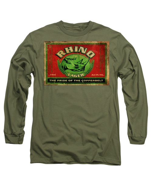 Long Sleeve T-Shirt featuring the digital art Rhino Lager by Greg Sharpe