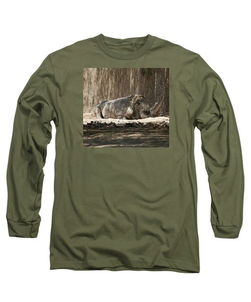 Long Sleeve T-Shirt featuring the digital art Rhino by Walter Chamberlain
