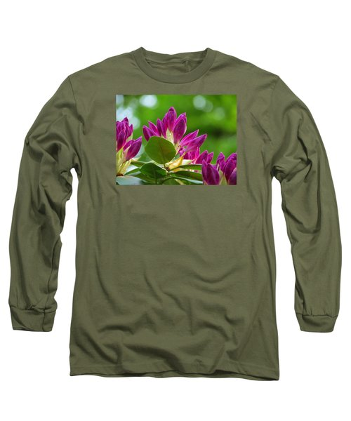 Rhododendron Buds Long Sleeve T-Shirt by MTBobbins Photography