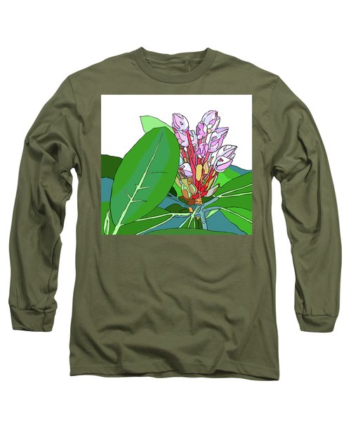 Rhododendron Graphic Long Sleeve T-Shirt by Jamie Downs