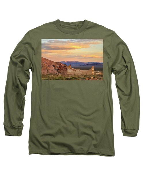 Long Sleeve T-Shirt featuring the photograph Rhyolite Bank At Sunset by James Eddy