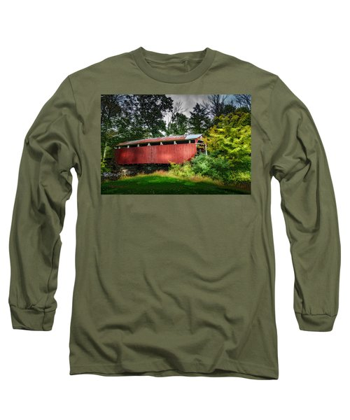 Long Sleeve T-Shirt featuring the photograph Richards Covered Bridge by Marvin Spates