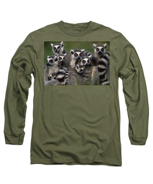 Ring-tailed Lemur Lemur Catta Group Long Sleeve T-Shirt