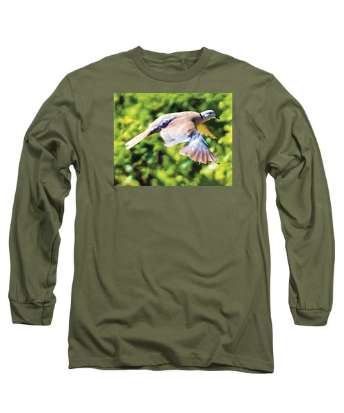 Ringed Neck Dove In Flight Long Sleeve T-Shirt