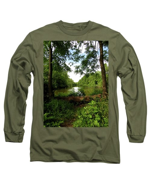 Long Sleeve T-Shirt featuring the photograph River Bend Seating by Kimberly Mackowski