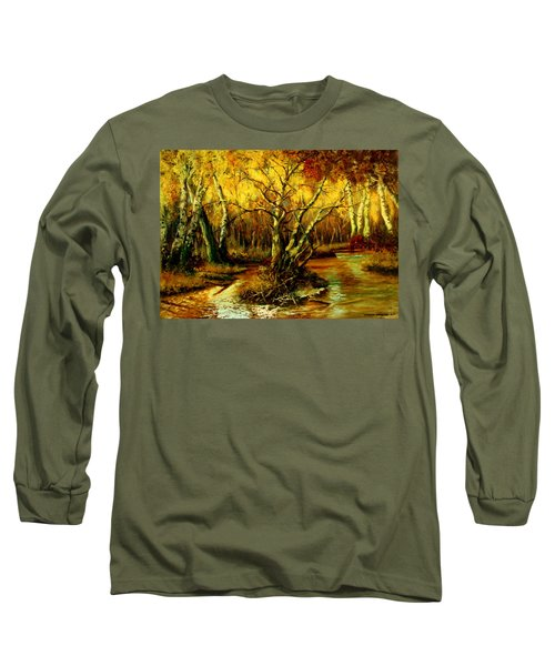 River In The Forest Long Sleeve T-Shirt by Henryk Gorecki