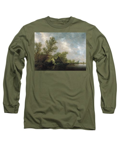 River Landscape With Ferry Boat And Cottages Long Sleeve T-Shirt