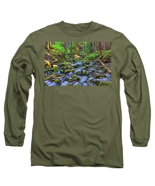 Riverbed Full Of Mossy Stones With Small Cascade Long Sleeve T-Shirt
