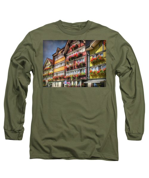 Long Sleeve T-Shirt featuring the photograph Row Of Swiss Houses by Hanny Heim